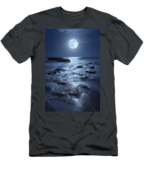 Full Moon Rising Over Coral Cove Beach In Jupiter, Florida Men's T-Shirt (Athletic Fit)