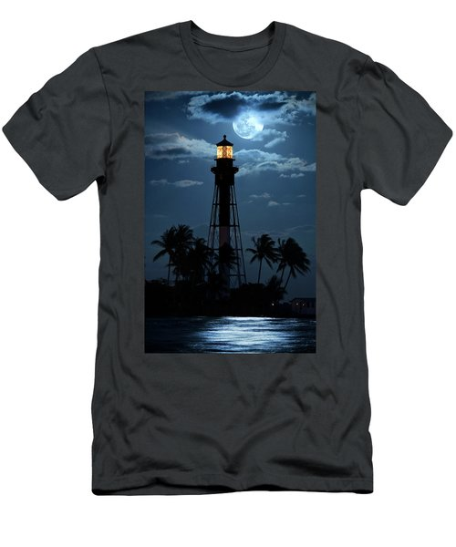 Full Moon Rising Over Hillsboro Lighthouse In Pompano Beach Florida Men's T-Shirt (Athletic Fit)