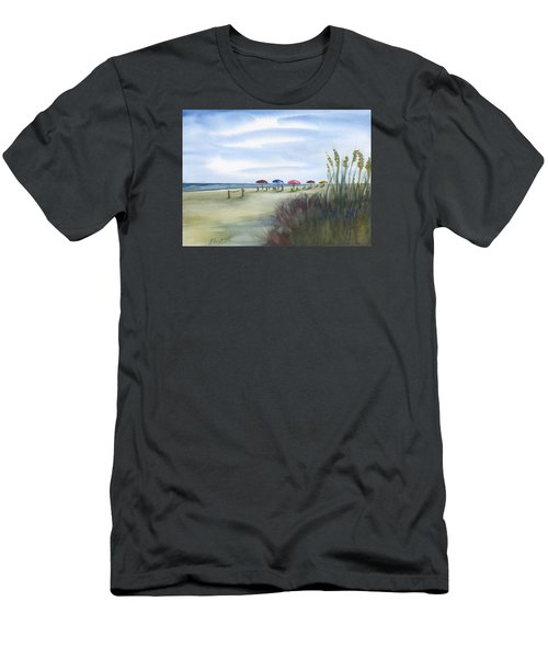 Fun At Folly Field Beach Men's T-Shirt (Slim Fit) by Frank Bright