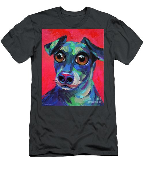 Funny Dachshund Weiner Dog With Intense Eyes Men's T-Shirt (Athletic Fit)