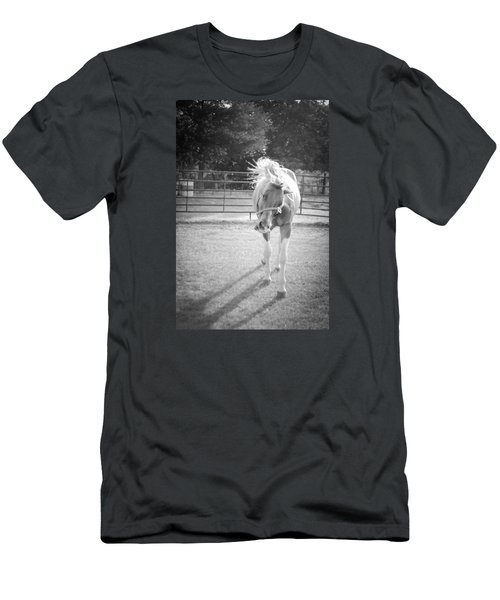 Men's T-Shirt (Slim Fit) featuring the photograph Funny Horse In Black And White by Kelly Hazel