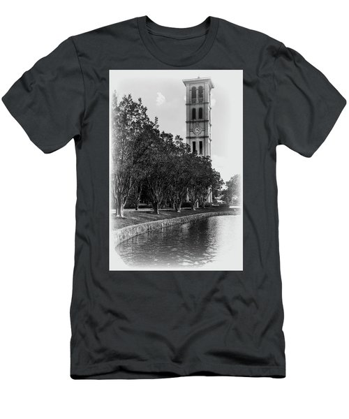 Furman University Bell Tower Greenville South Carolina Black And White Men's T-Shirt (Athletic Fit)