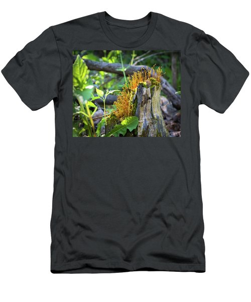 Men's T-Shirt (Athletic Fit) featuring the photograph Fuzzy Stump by Bill Pevlor
