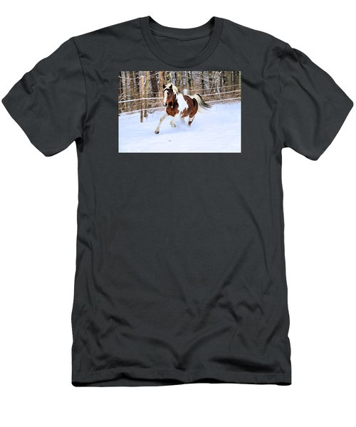 Galloping In The Snow Men's T-Shirt (Slim Fit) by Elizabeth Dow
