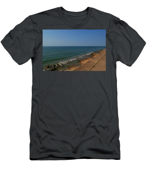Men's T-Shirt (Athletic Fit) featuring the photograph Galveston Beach At The Seawall by Tikvah's Hope