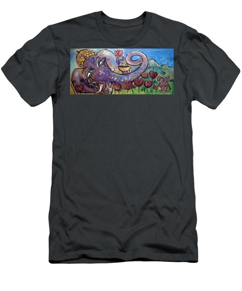 Ganesha With Poppies Men's T-Shirt (Athletic Fit)