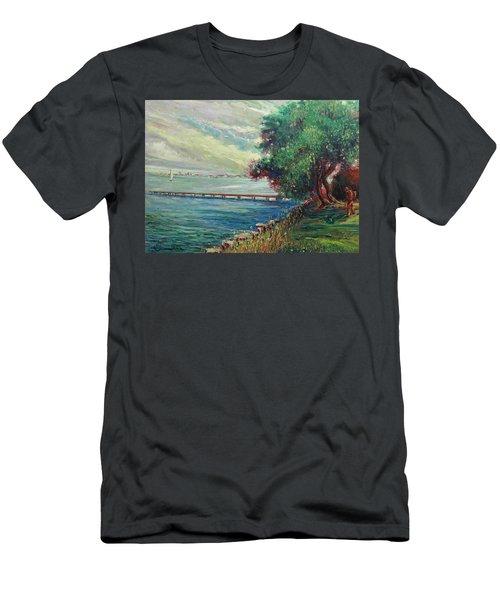 Men's T-Shirt (Slim Fit) featuring the painting Garda Lake -lago Garda by Walter Casaravilla