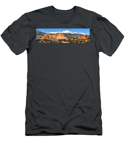 Men's T-Shirt (Slim Fit) featuring the photograph Garden Of The Gods Medium Panorama by Adam Jewell