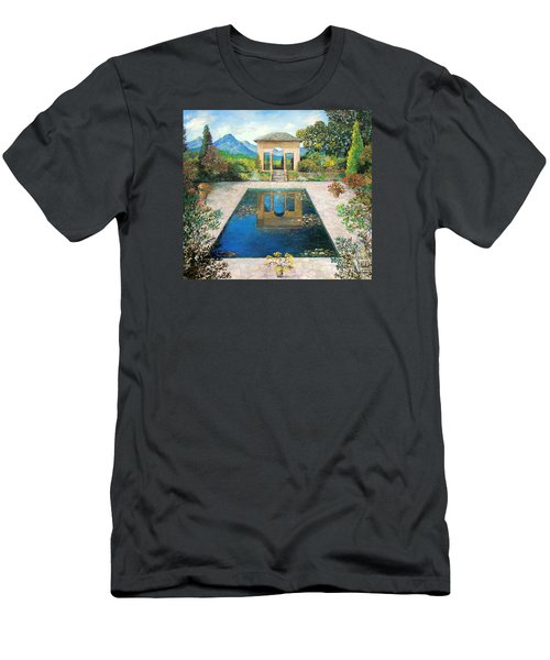 Garden Reflection Pool Men's T-Shirt (Slim Fit) by Lou Ann Bagnall