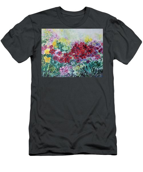 Men's T-Shirt (Slim Fit) featuring the painting Garden With Reds by Joanne Smoley
