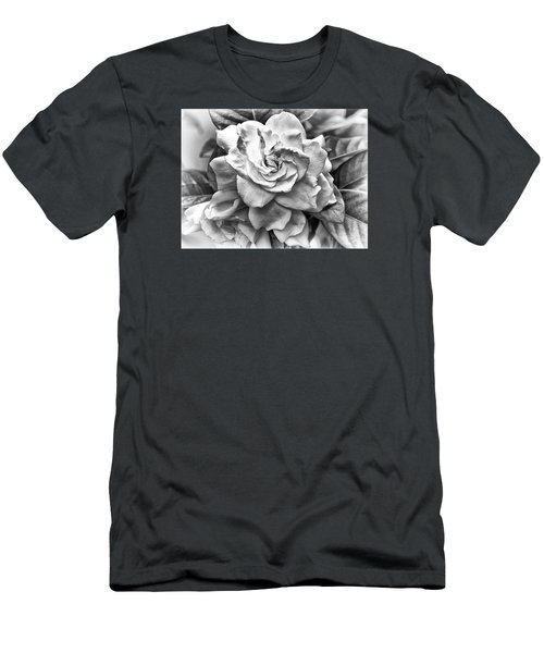 Gardenia Black And White Men's T-Shirt (Slim Fit) by Barbara Middleton