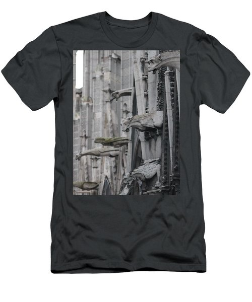 Men's T-Shirt (Slim Fit) featuring the photograph Gargoyles North Notre Dame by Christopher Kirby