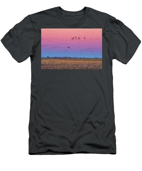 Geese Flying At Sunset Men's T-Shirt (Slim Fit) by Marc Crumpler