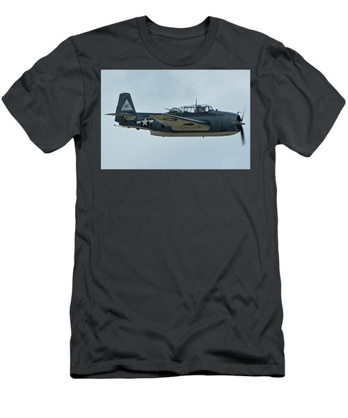 Men's T-Shirt (Slim Fit) featuring the photograph General Motors Tbm-3e Avenger Nx7835c Chino California April 30 2016 by Brian Lockett
