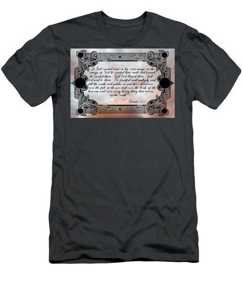 Men's T-Shirt (Athletic Fit) featuring the digital art Genesis 1 27-28 by Ericamaxine Price