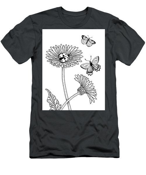 Gerbera Daisies Drawing Men's T-Shirt (Athletic Fit)