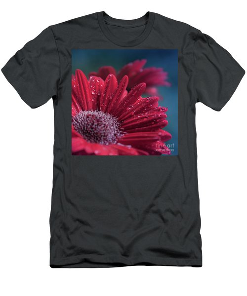 Men's T-Shirt (Athletic Fit) featuring the photograph Gerbera Red Jewel by Sharon Mau