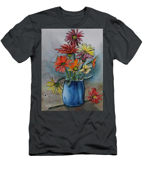 Gerberas In A Blue Pot Men's T-Shirt (Athletic Fit)