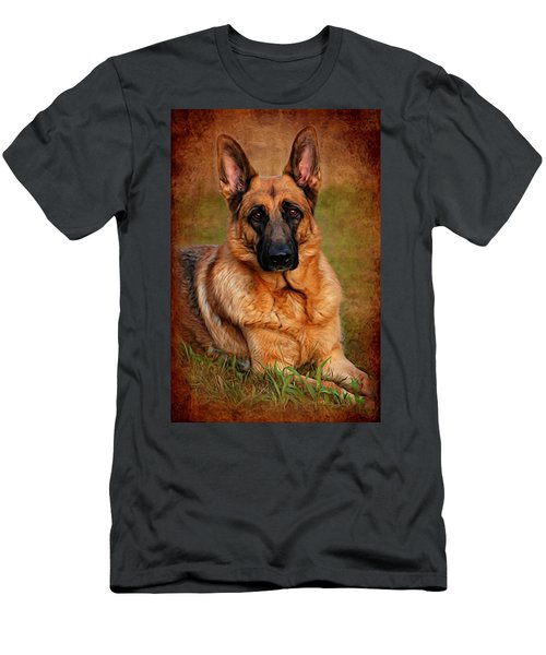 German Shepherd Dog Portrait  Men's T-Shirt (Athletic Fit)