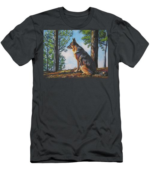 German Shepherd Lookout Men's T-Shirt (Slim Fit) by Lee Ann Shepard
