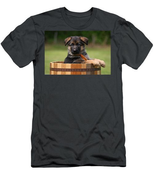 German Shepherd Puppy In Planter Men's T-Shirt (Athletic Fit)