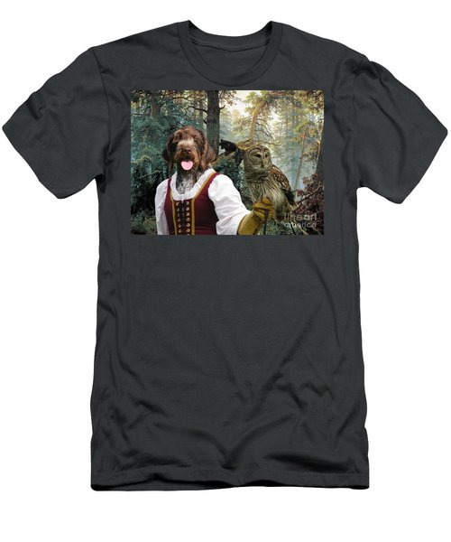 German Wirehaired Pointer Art Canvas Print - Lady Owl And Little Bears Men's T-Shirt (Athletic Fit)