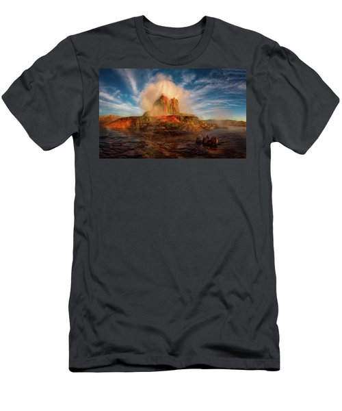 Geyser Steams At Dawn Men's T-Shirt (Athletic Fit)