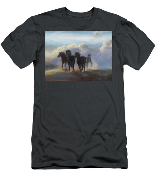 Ghost Horses Men's T-Shirt (Slim Fit) by Karen Kennedy Chatham
