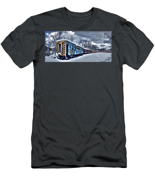 Men's T-Shirt (Athletic Fit) featuring the photograph Ghost Train In An Existential Storm by Wayne King