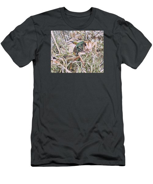 Men's T-Shirt (Slim Fit) featuring the painting Giant Grasshopper by Joshua Martin