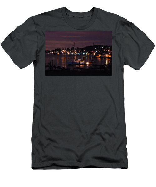 Men's T-Shirt (Slim Fit) featuring the photograph Gig Harbor At Night by Jack Moskovita
