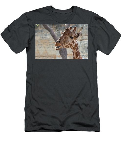 Girafe Head About To Grab Food Men's T-Shirt (Athletic Fit)