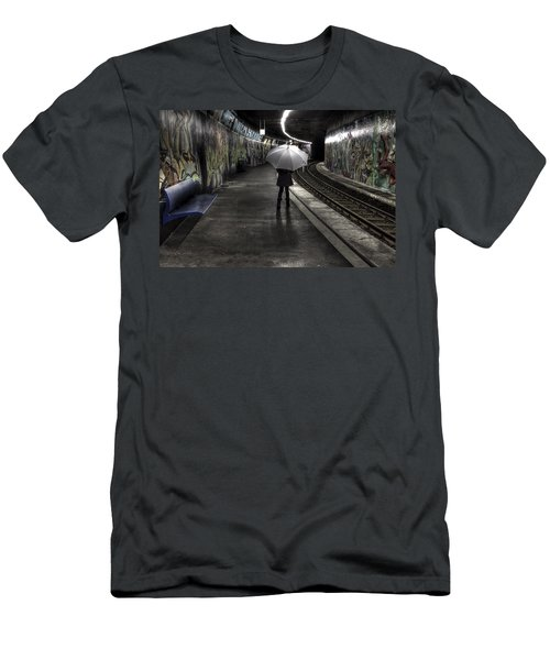 Girl At Subway Station Men's T-Shirt (Athletic Fit)