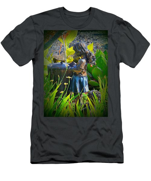 Men's T-Shirt (Slim Fit) featuring the photograph Girl In The Garden by Lori Seaman