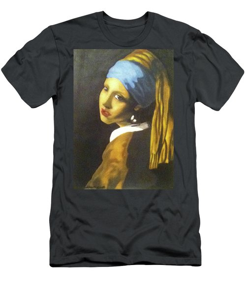 Men's T-Shirt (Athletic Fit) featuring the painting Girl With Pearl Earring by Jayvon Thomas