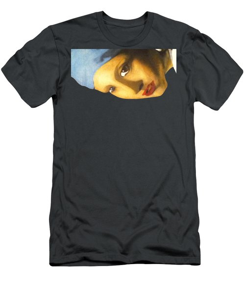 Men's T-Shirt (Athletic Fit) featuring the painting Girl With The Pearl Earring Side by Jayvon Thomas