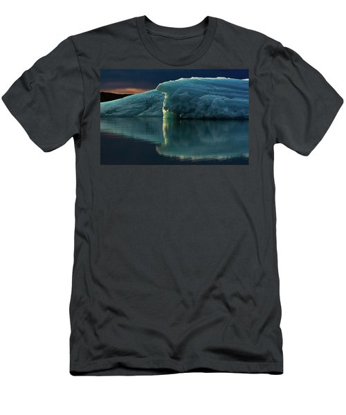 Men's T-Shirt (Slim Fit) featuring the photograph Glacial Lagoon Reflections by Allen Biedrzycki