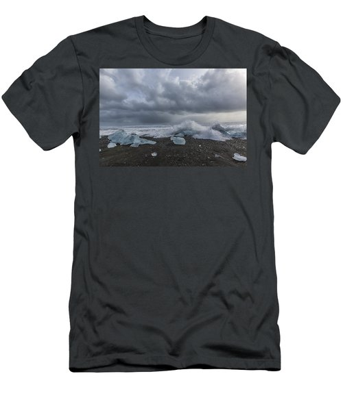 Men's T-Shirt (Slim Fit) featuring the tapestry - textile Glacier Ice 2 by Kathy Adams Clark