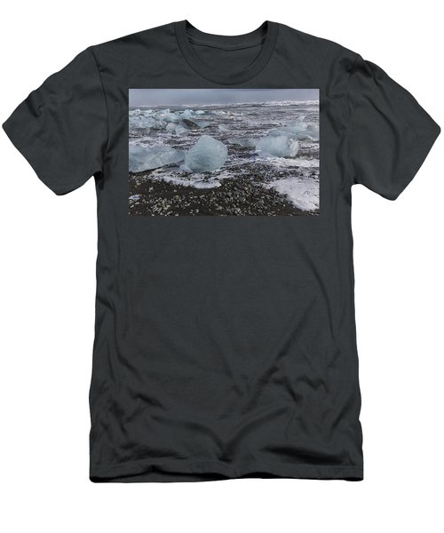 Men's T-Shirt (Slim Fit) featuring the tapestry - textile Glacier Ice 3 by Kathy Adams Clark