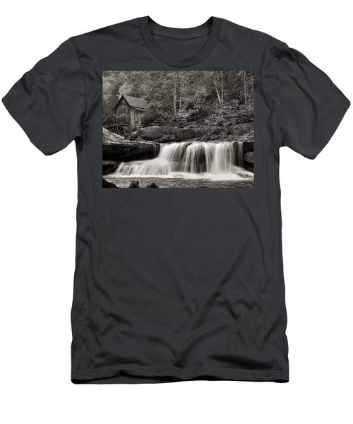 Glade Creek Grist Mill Monochrome Men's T-Shirt (Slim Fit) by Chris Flees