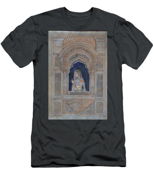 Men's T-Shirt (Slim Fit) featuring the painting Glancing From Her Window by Vikram Singh