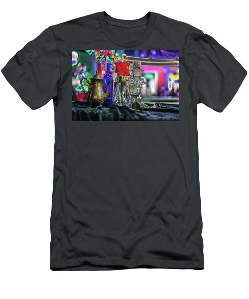 Glass In The Frame Of Colorful Hearts Men's T-Shirt (Athletic Fit)