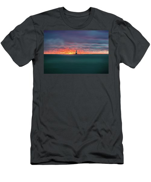 Glowing Sunset On Lake With Lighthouse Men's T-Shirt (Athletic Fit)