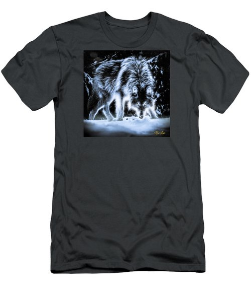 Men's T-Shirt (Athletic Fit) featuring the photograph Glowing Wolf In The Gloom by Rikk Flohr