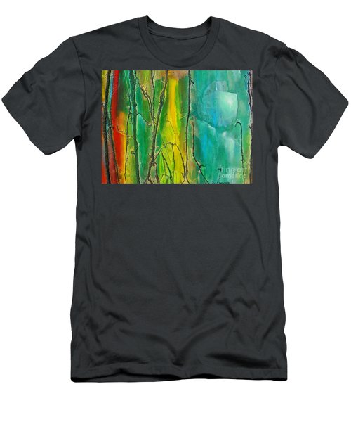 God Has Moved  Into The Neigborhood Men's T-Shirt (Slim Fit) by Dan Whittemore