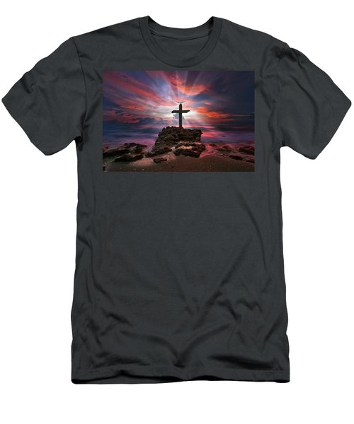 Men's T-Shirt (Slim Fit) featuring the photograph God Is My Rock Special Edition Fine Art by Justin Kelefas