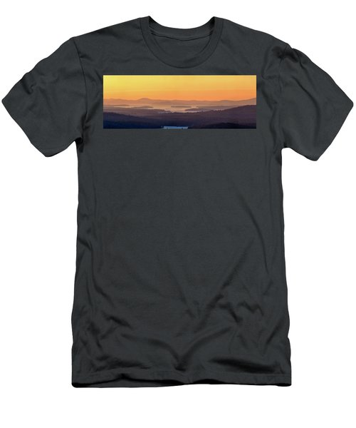 Golden Dawn Over Squam And Winnipesaukee Men's T-Shirt (Slim Fit) by Sebastien Coursol