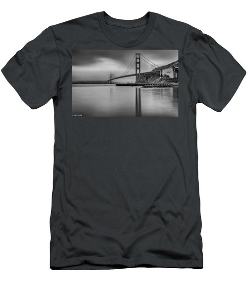 Golden Gate Black And White Men's T-Shirt (Athletic Fit)