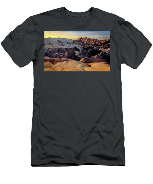 Men's T-Shirt (Athletic Fit) featuring the photograph Golden Hour Light On Zabriskie Point by John Hight