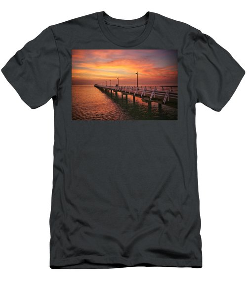 Golden Red Skies Over The Pier Men's T-Shirt (Athletic Fit)